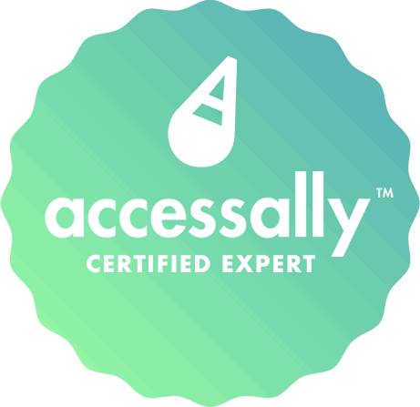 Circle with AccessAlly Certified Expert Badge