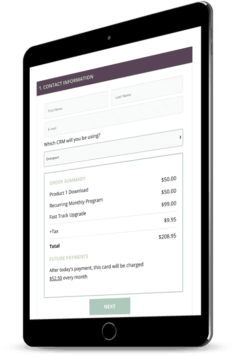 Tablet with a screenshot of a recurring payment order form