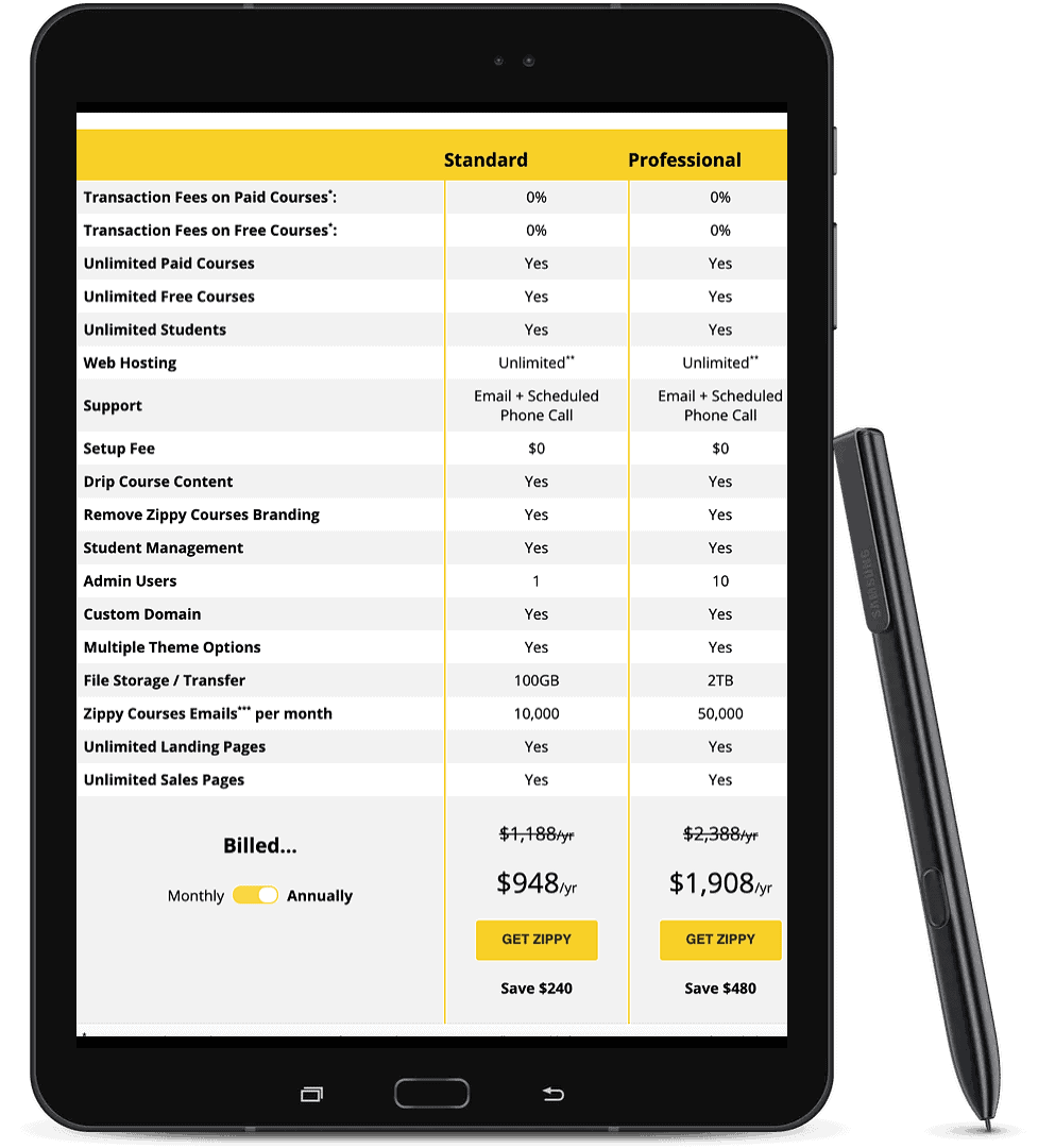 Tablet displaying Zippy Course's platform pricing