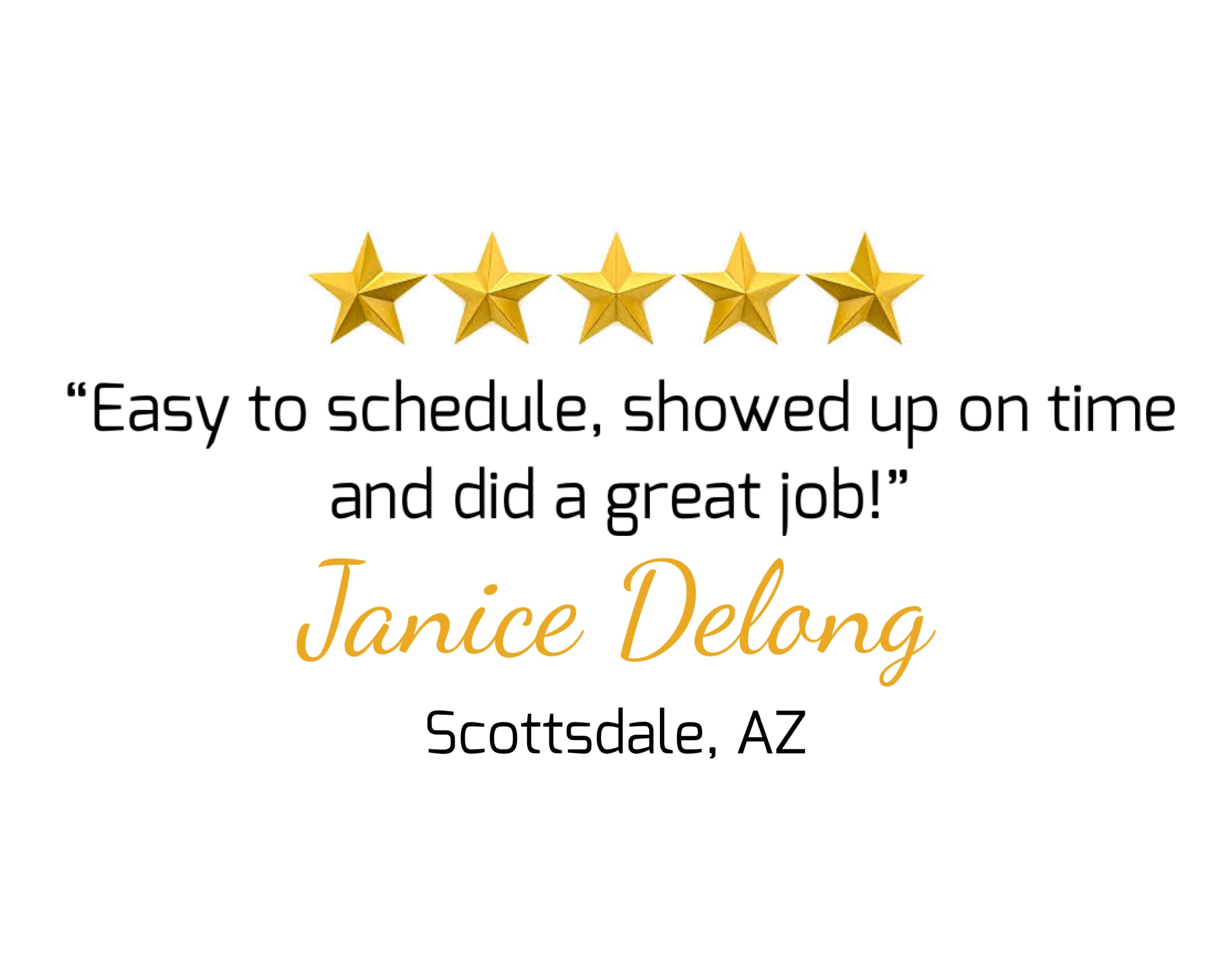5 star testimonial for Olsen Brothers Window Cleaning- Janice