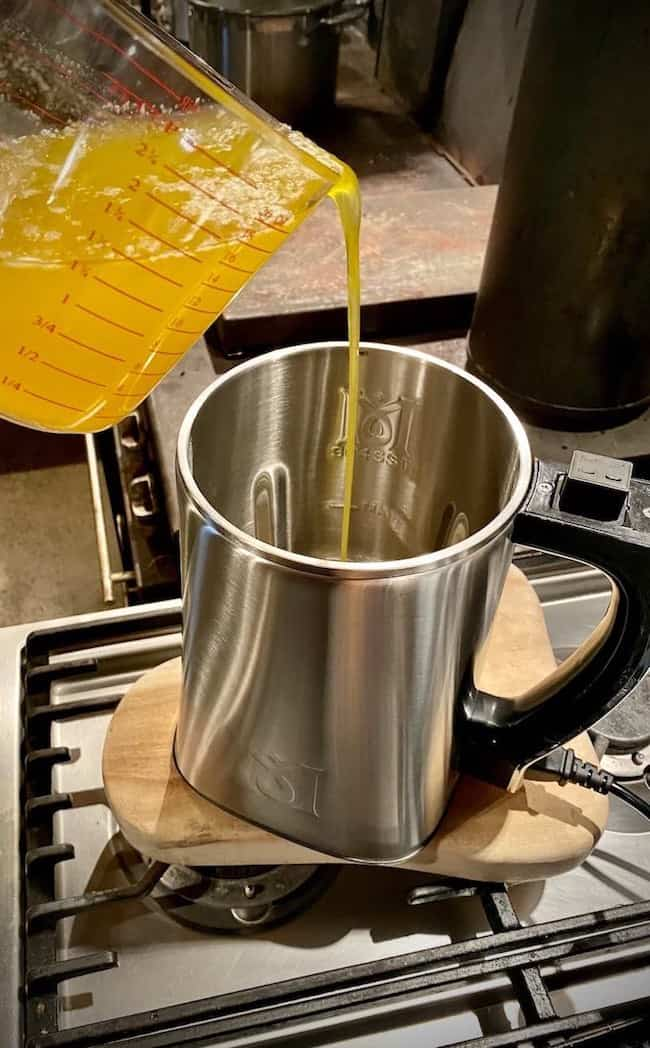 Butter being poured into the MagicalButter Machine