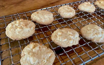 The lushest salted macadamia and white chocolate cannabutter cookies