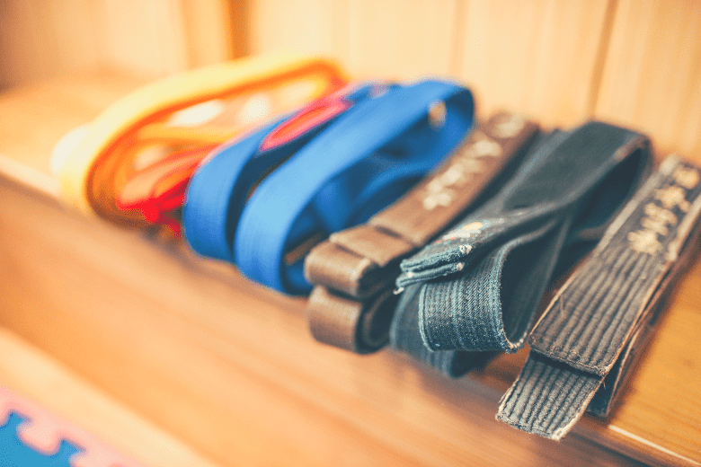 a row of different bjj belts