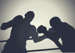 silhouettes of two boxers