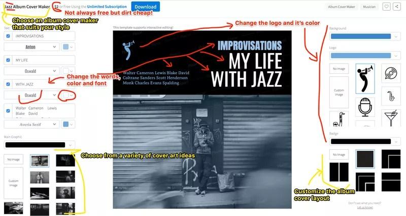 PlaceIt album cover maker example