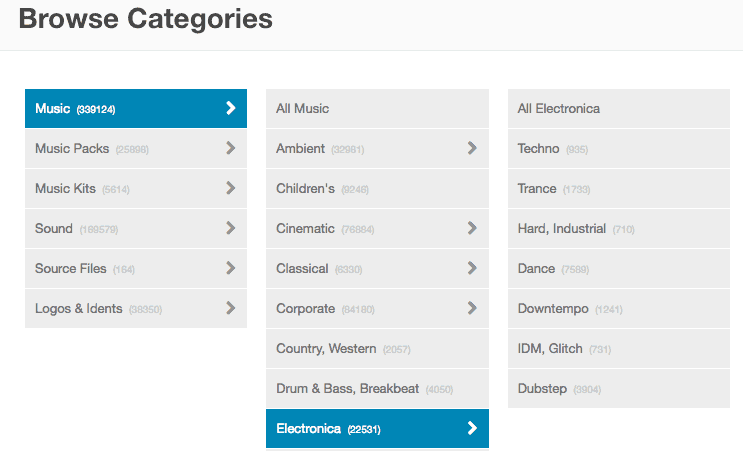 Screenshot of the Electronica category in stock music library Audio Jungle