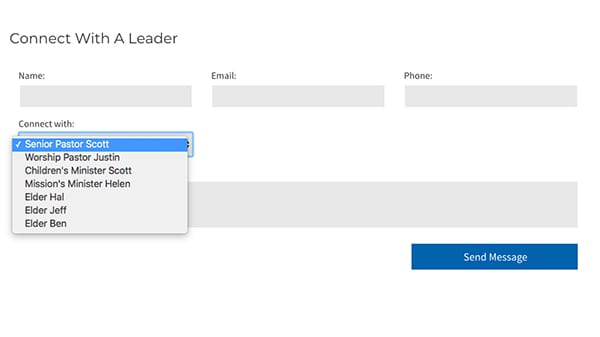 church website contact forms contact a leader