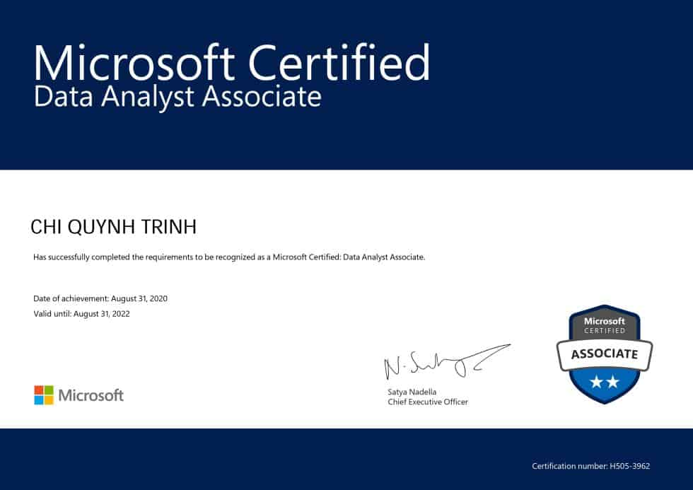 data analyst certification microsoft