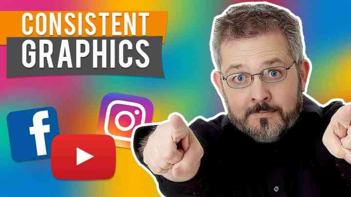 dave in front of multicolored background with youtube facebook and instagram icons and the workds consistent graphics