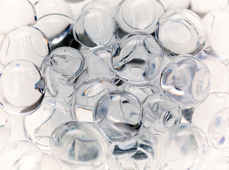 close-up of transparent hydrogel balls