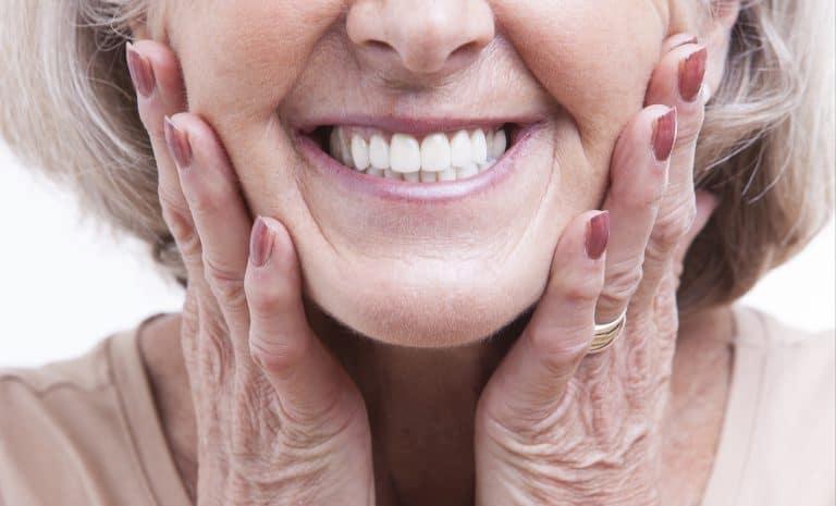 Closeup Of Senior With Denture