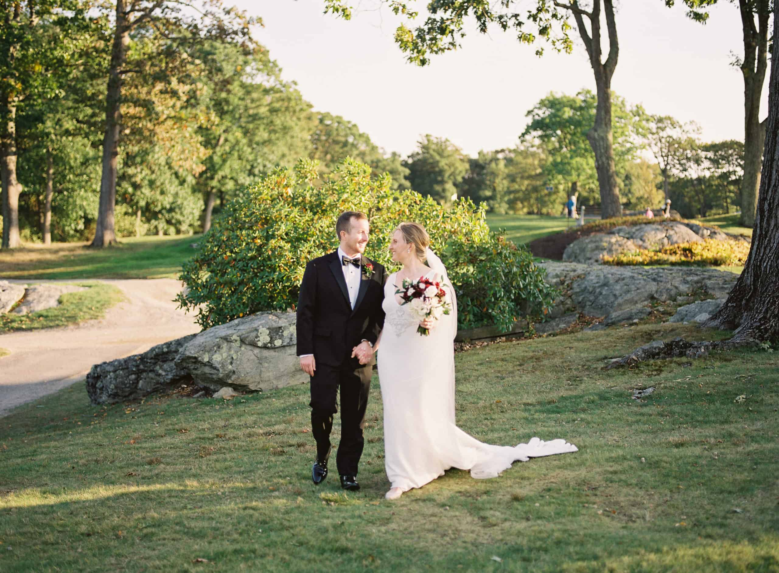 Charles River Country Club wedding bride and groom