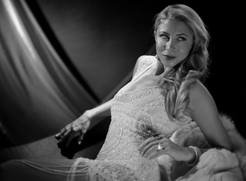 Black and white glamorous photo shoot