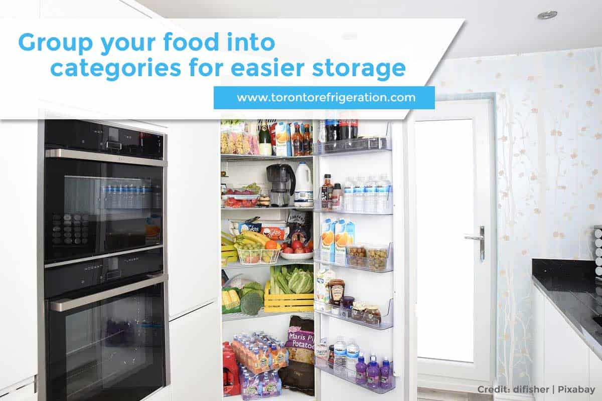 Group your food into categories for easier storage
