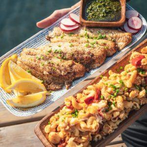 plated fish and mac n cheese