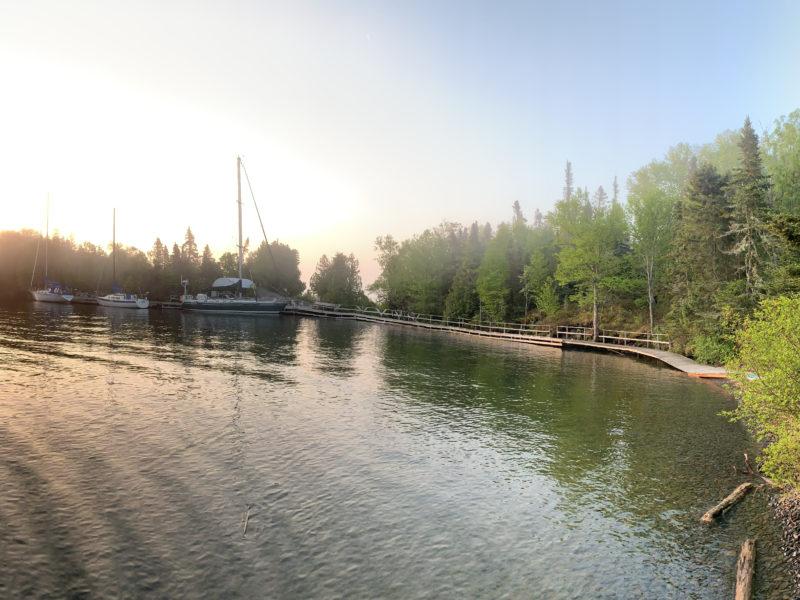 Frodo docked at Thompson Island