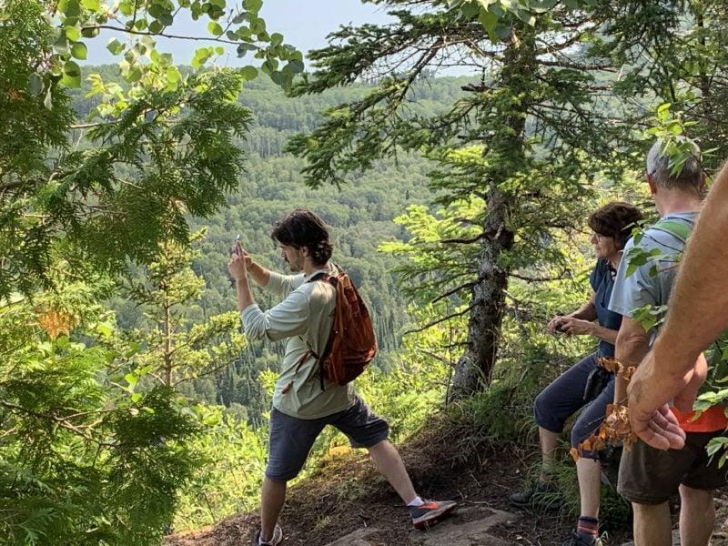 Taking photos on a hike after Zodiac Hurricane RHIB ride