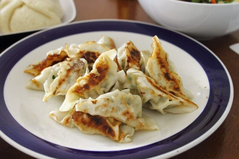gyoza on white plate with blue edge