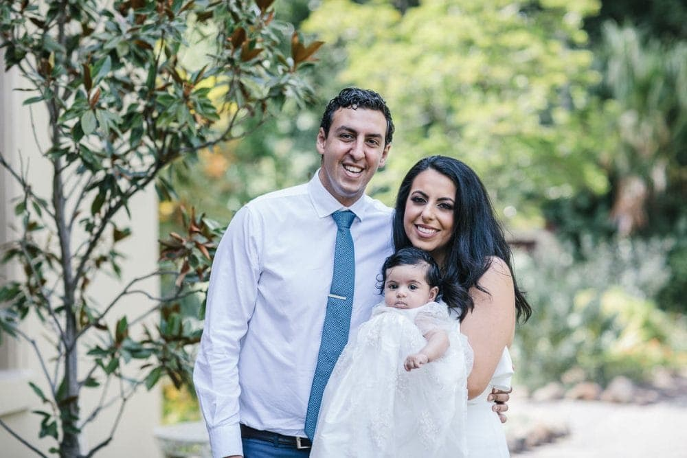 family portraits at the boitanical gardens in Melbourne - Christening
