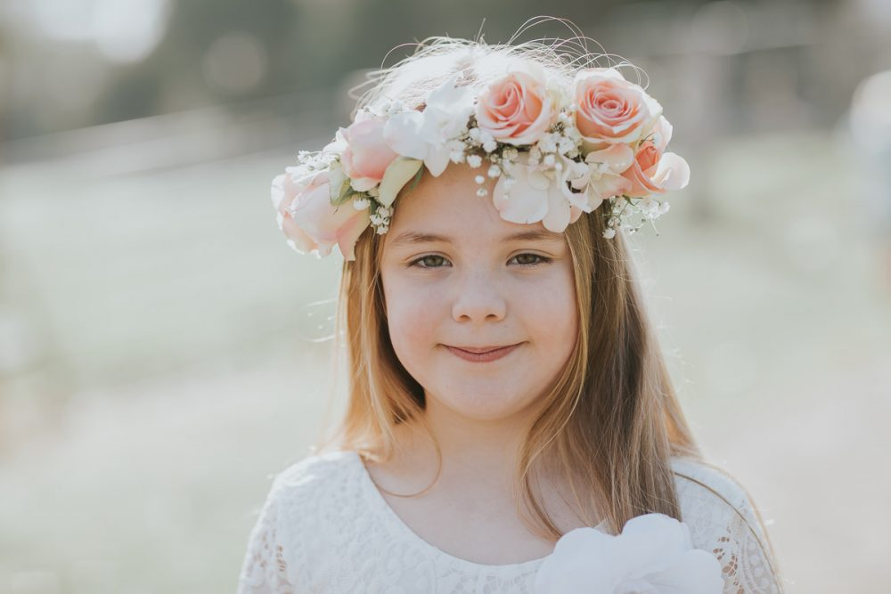 girl with flower crown - pink and white