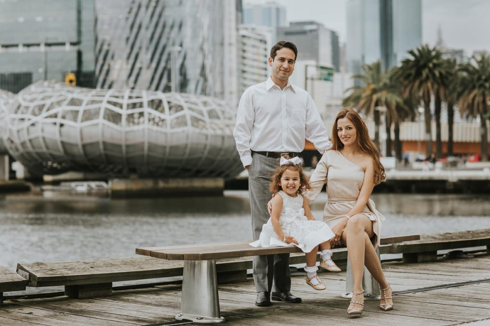 stylish family portraits in outdoor location - Melbourne city backdrop for family photos