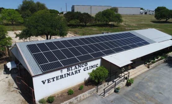 Blanco Veterinary Clinic goes solar! they selected Longhorn Solar out of Austin, Texas to complete the installation.