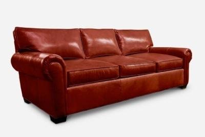 Roosevelt Roll-Arm Lawson Style Sofa In Dark Brick Leather