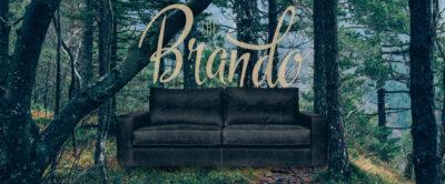 Brando Classic Blind-Tufted Square-Arm Sofa In Vintage Black Leather
