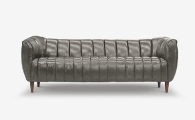 Hughes Slate Gray Leather Art Deco Sofa