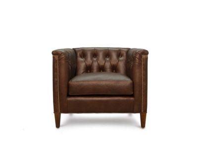Neil Diamond-Tufted Mid-Century Armchair In Mudd Run Boulder Leather