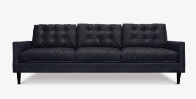 Redding Black Leather Mid-Century Sofa