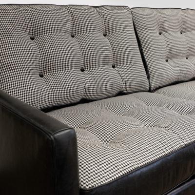 Redding Mid-Century Leather & Fabric Sofa