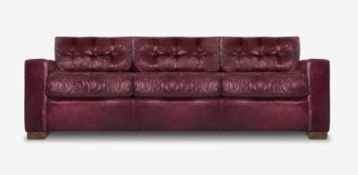 Brando Track Arm Sofa In Aubergine Leather