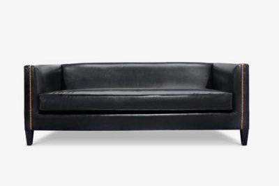 Dylan Mid-Century Black Leathe Tuxedo Sofa
