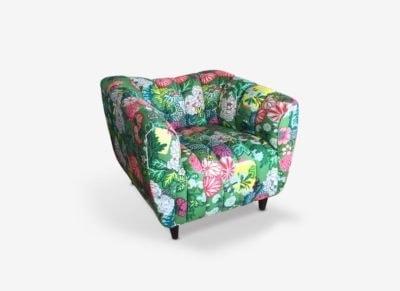 Hughes Art Deco Chair In Schumacher Chiang Mai Dragon Fabric