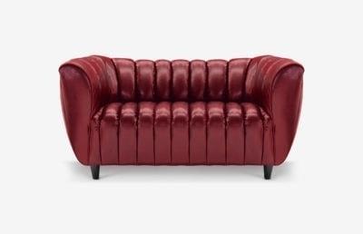 Hughes Art Deco Loveseat In Dark Red Leather