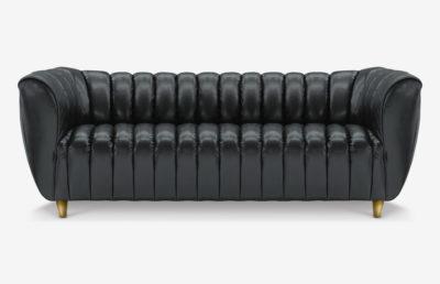 Hughes Art Deco Sofa In Jet Black Leather