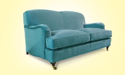 Blue Kubrick Tight Back English Arm Sofa In Como Atlantic Velvet