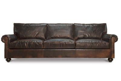 Custom Roosevelt Cigar Leather Lawson Style Sofa