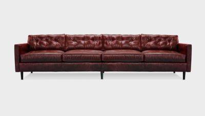 Jack Oxblood Leather Mid-Century Low Profile Knoll Style Sofa