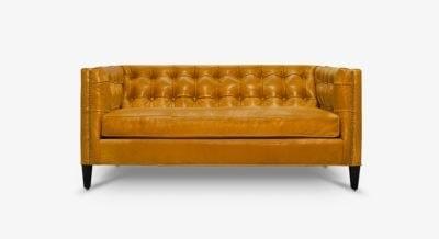 Dylan Mid-Century Orange Leather Tufted Loveseat