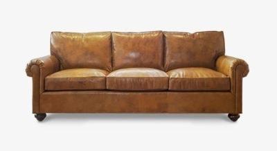 Roosevelt Vintage Brown Leather Roll Arm Sofa