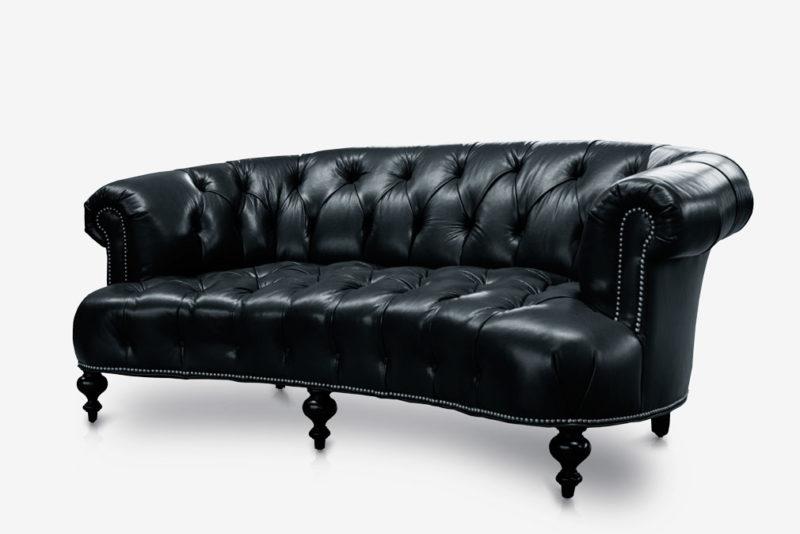 The Truman: Diamond Tufted Black Leather Chesterfield Sofa