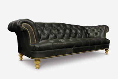 Hawthorne - Moore & Giles Black Leather British Chesterfield Sofa