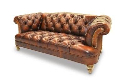 Hawthorne Caramel Leather Tufted British Chesterfield Pub Love Seat
