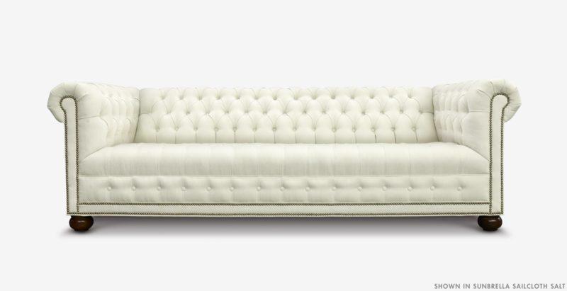 Hepburn Tufted Chesterfield Sofa In Sunbrella Sailcloth Salt