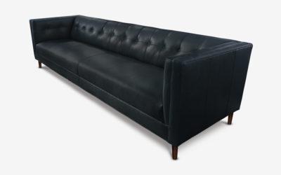Holiday Mid-Century Tuxedo Sofa In Black Leather