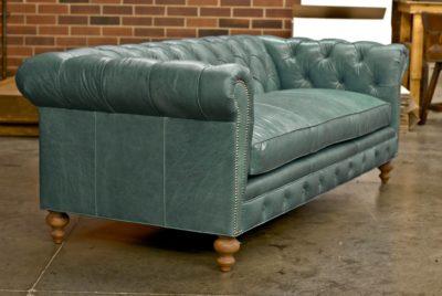 Verdigris Leather Fitzgerald Chesterfield Sofa