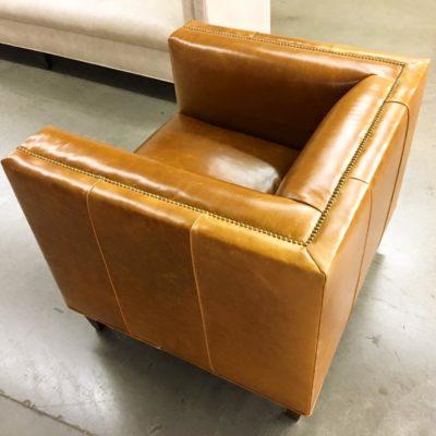 Mid-Century Tuxedo Style Dylan Armchair In Caramel Leather