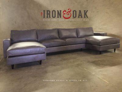 Custom Grey Leather McQueen Sectional Sofa